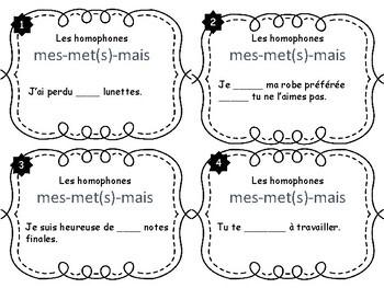 Cartes à tâches - Les homophones mes-met(s)-mais (French Task Cards)