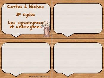 Cartes à tâches - Les synonymes et les antonymes
