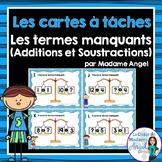 Cartes à tâches: Les termes manquants (additions et soustractions à 20)