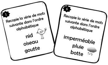 Cartes à tâches - Ordre alphabétique (French FSL)