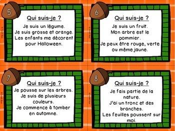 Automne - Cartes à tâches - Qui suis-je? - French Fall Task Cards