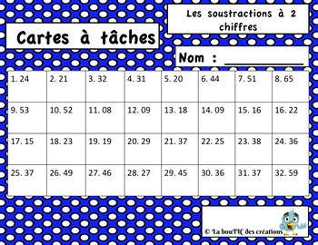 Cartes à tâches : Soustractions à 2 chiffres