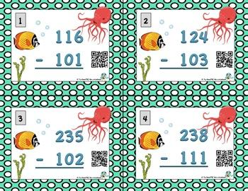 Cartes à tâches : Soustractions à 3 chiffres avec code QR