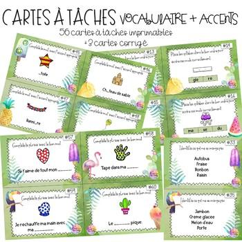 Cartes à tâches - Vocabulaire + accents