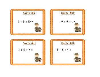 Cartes à tâches : additions de 3 nombres.