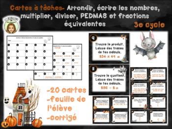 Cartes à tâches de l'Halloween-FRENCH-Numération-Math centre