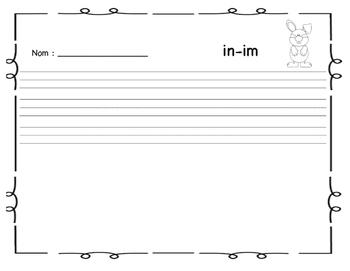 """Cartes à tâches : le son  """"in - im """""""
