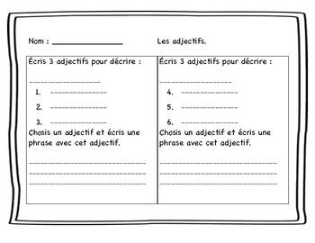 Cartes à tâches : les adjectifs