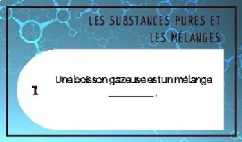 Cartes à tâches: les substances pures et les mélanges