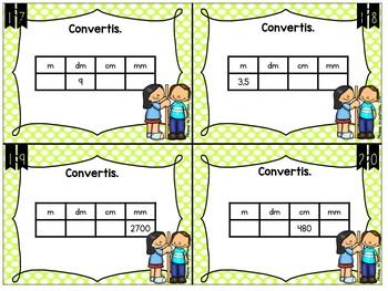 Cartes à tâches: mesure et conversion de longueurs