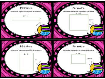 Cartes à tâches : périmètre et aire en algèbre