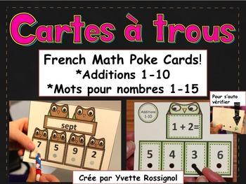 Cartes à trous (French Math Poke Cards) Additions 1-10, Mots pour nombres 1-15