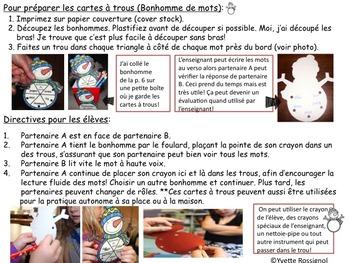 Cartes à trous (French Poke Cards) Mots fréquents et alphabet