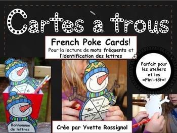 French Poke Cards (bonhomme de neige) Mots fréquents et alphabet