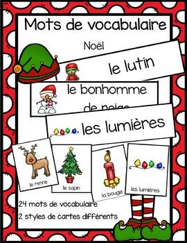 Cartes avec mots de vocabulaire - Noël