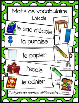 Cartes avec mots de vocabulaire - l'école