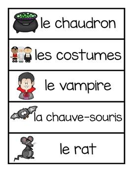 Cartes avec mots de vocabulaire - l'halloween