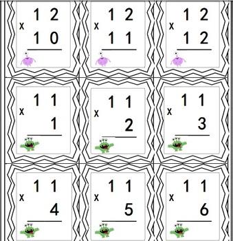 Cartes éclair multiplication 1 à 12 (flash cards) thème des monstres
