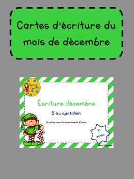 Cartes d'écriture de décembre - 3e année