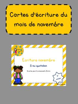 Cartes d'écriture de novembre - 3e année