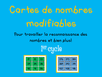 Cartes de nombres - 1er cycle