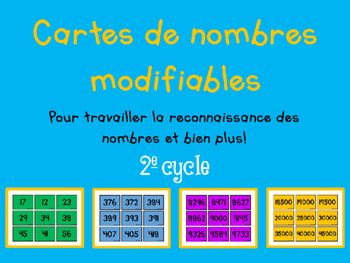 Cartes de nombres - 2e cycle