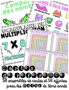 Cartes de références - Elementary Math terms in French