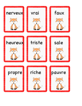 Cartes : les adjectifs - 24 paires d'antonymes.