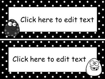 Cartes modifiables - vocabulaire, identification de bureau, mur de mots, etc.