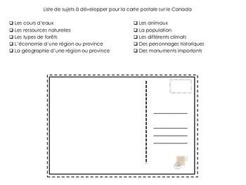 Cartes postales sur le Canada et un autre pays