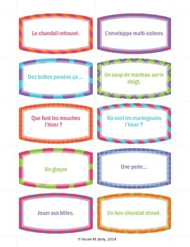 Cartes pour écriture du matin Writing prompts