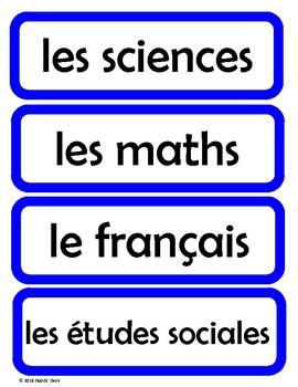 Cartes pour l'horaire du jour - Schedule Cards for the French Classroom (Blue)