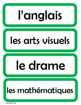 Cartes pour l'horaire du jour - Schedule Cards for the French Classroom (Green)