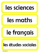 Cartes pour l'horaire du jour - Schedule Cards for the French Classroom (Yellow)