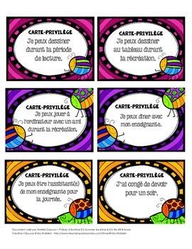 Cartes-privilèges - Récompenses