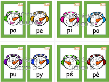 Cartes syllabes simples - Petits formats - Hiver