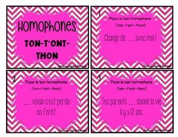 Cartes à tâche - les homophones ton-t'ont-thon