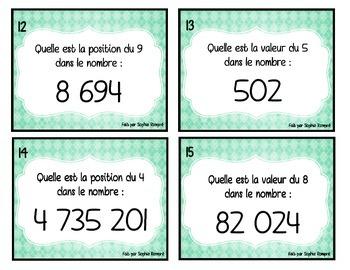 Cartes à tâche - valeur et position (maths)