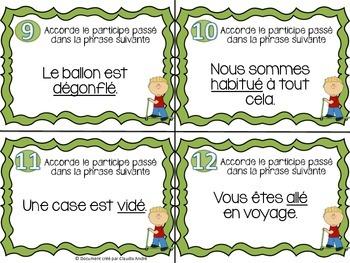 Cartes à tâches - 3e cycle - Accord du participe passé