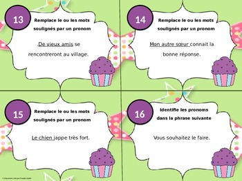 Cartes à tâches - 3e cycle - Pronom