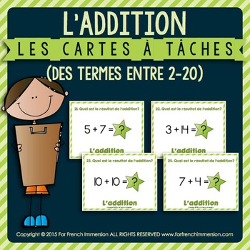 Cartes à tâches - ADDITION - termes entre 2 et 20 - FRENCH