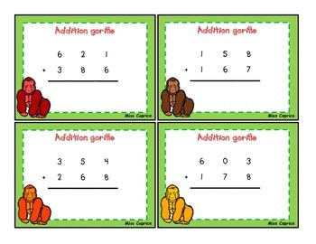 Cartes à tâches - Additions et soustractions à 3 et 4 chiffres