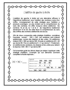 Cartes à tâches – Additions à trois chiffres de gauche à droite