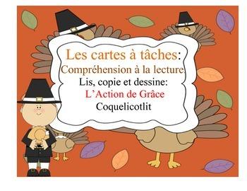 Cartes à tâches : L'Action de Grâce- Thanksgiving.