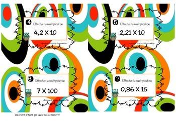 Cartes à tâches - Multiplications de nombres décimaux - Task cards