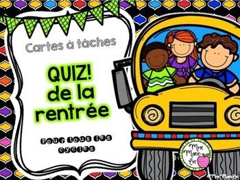 Cartes à tâches - Quiz de la rentrée (Back to School Quiz Task Cards)