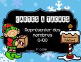 Cartes à tâches - Représenter des nombres 0-100 Noël Task cards
