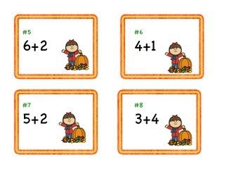 Cartes à tâches : additions (1-12) Thème: l'automne