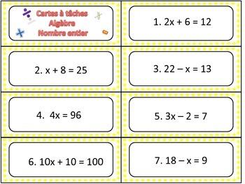Cartes à tâches d'algèbres / Algebra task card