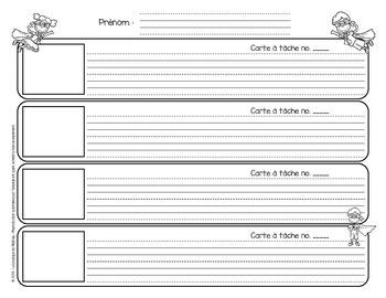 Cartes à tâches de lecture (replacer, écrire et illustrer) (Super-Héros)
